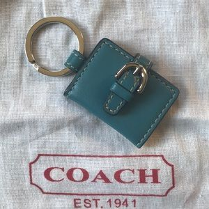 Coach Turquoise Leather Key Ring
